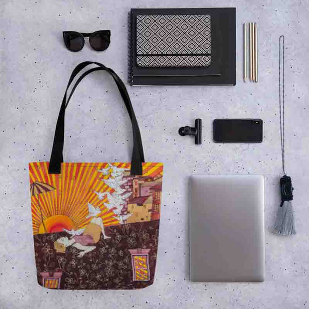 Unique and conspicuous tote bag - colorful and striking women clothing by Somejam - Zero point - Tote bag
