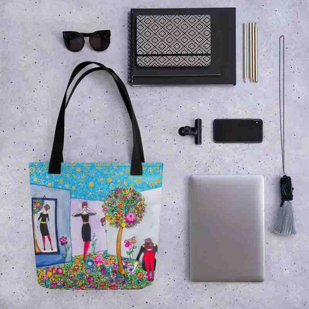 Unique and conspicuous tote bag - colorful and striking women clothing by Somejam - Hide and seek - Tote bag