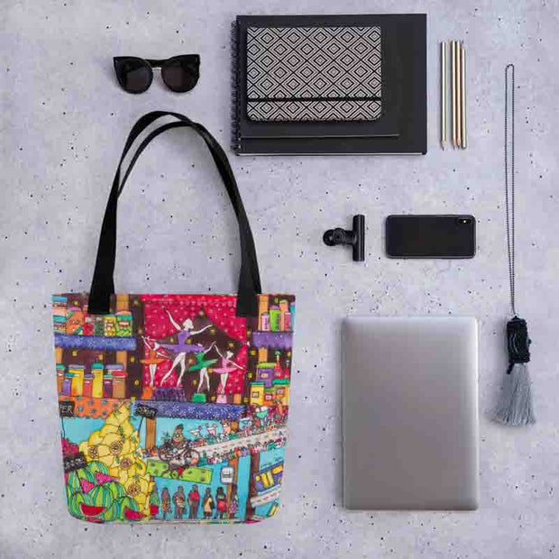 Unique and conspicuous tote bag - colorful and striking women clothing by Somejam - How did this dance get into my pantry? - Tote bag