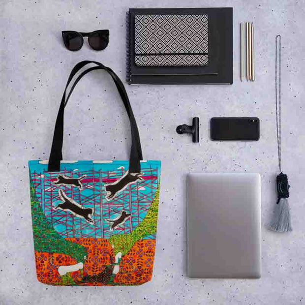 Unique and conspicuous tote bag - colorful and striking women clothing by Somejam - She builds scaffolding in front of nothing - Tote bag