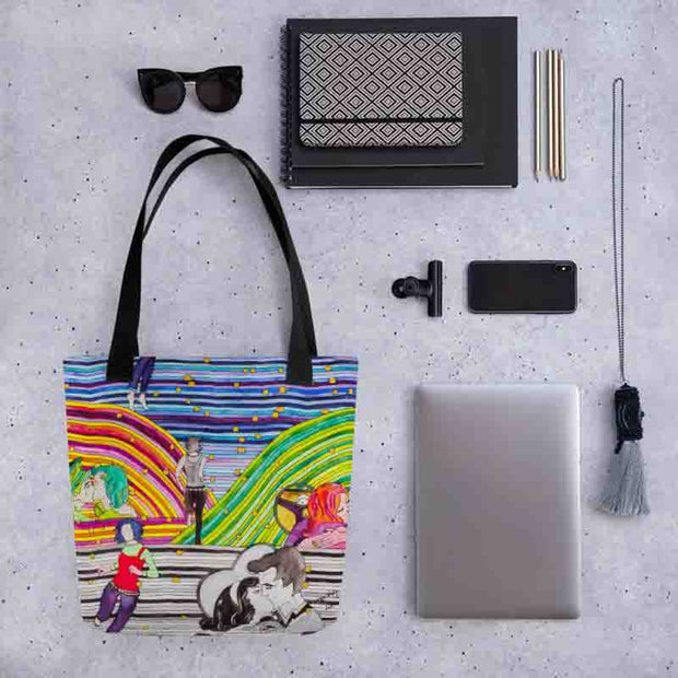 Unique and conspicuous tote bag - colorful and striking women clothing by Somejam - Hare and Hounds - Tote bag