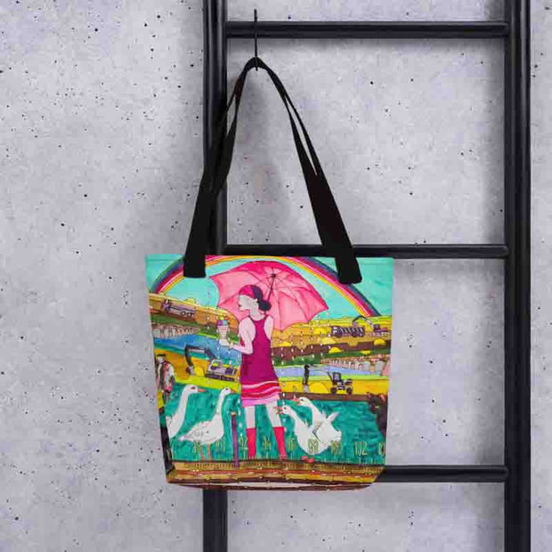 Unique and conspicuous tote bag - colorful and striking women clothing by Somejam - Rebuliding the Puszta - Tote bag