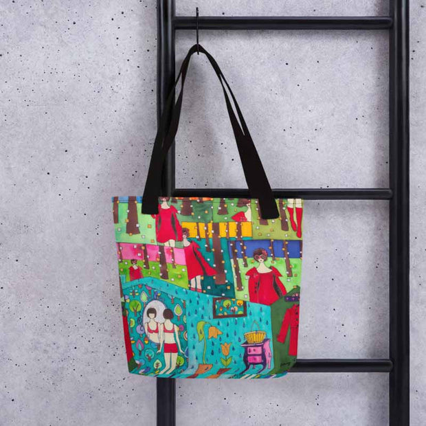 Unique and conspicuous tote bag - colorful and striking women clothing by Somejam - Little Red - Tote bag