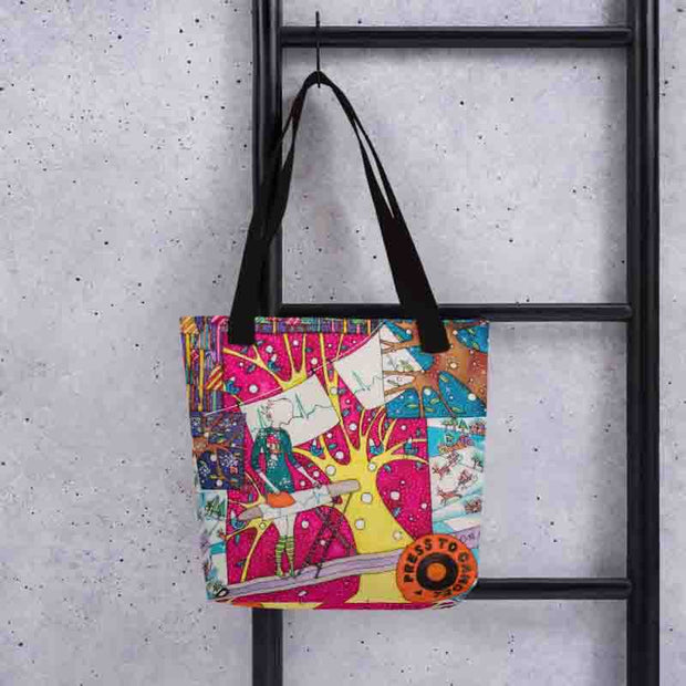 Unique and conspicuous tote bag - colorful and striking women clothing by Somejam - Press the button to cancel - Tote bag