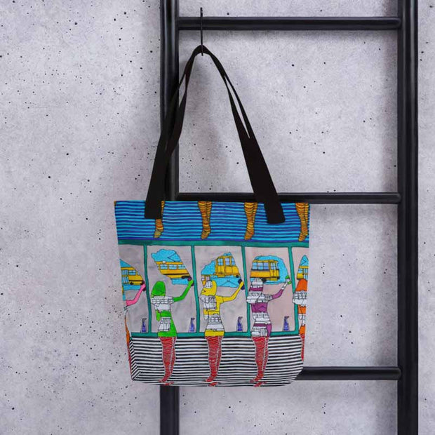 Unique and conspicuous tote bag - colorful and striking women clothing by Somejam - Washing the window, clearing my eyes - Tote bag