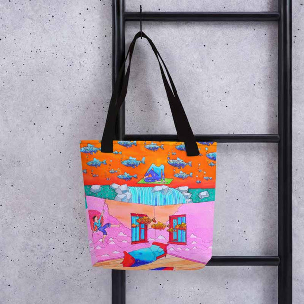 Unique and conspicuous tote bag - colorful and striking women clothing by Somejam - What's being and what seems to be - Tote bag