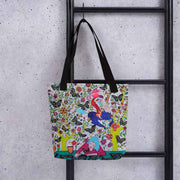 Unique and conspicuous tote bag - colorful and striking women clothing by Somejam - I had to wait for my rider - Tote bag