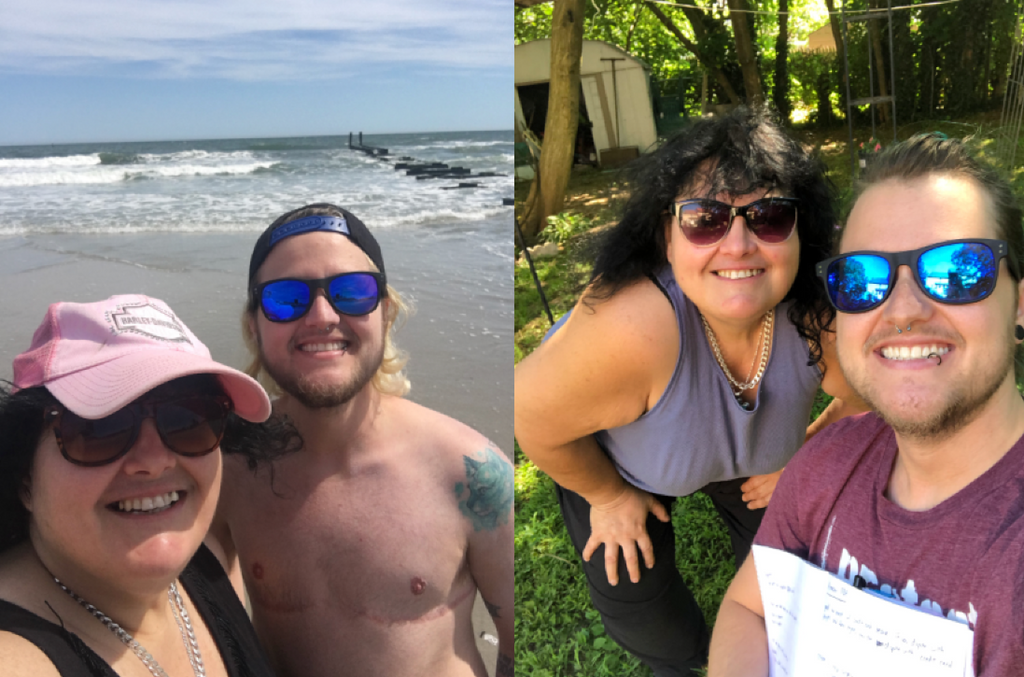 Two photos side by side. The first one is Lynn and Chase smiling on the beach. Chase is shirtless. The second is Lynn and Chase sitting outside. There is grass and nature around them.