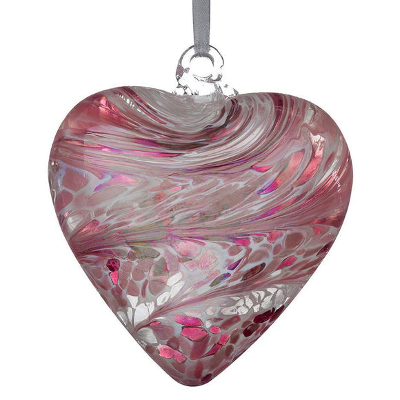 Sienna Glass 12cm Friendship Heart - Pastel Pink