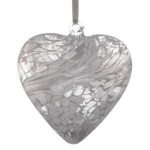 Sienna Glass 12cm Friendship Heart - White
