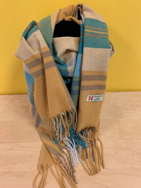 Strathurie large check scarf - mustard