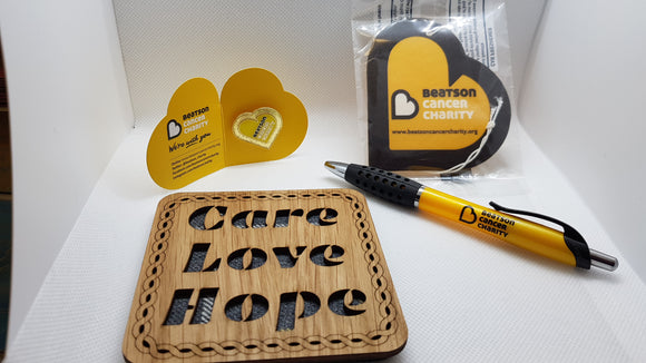 Letterbox gift - Care Love Hope Coaster, Beatson Car air freshener, Pen & Pin badge