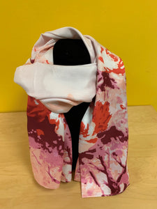 Silk feeling scarf red and pink flower