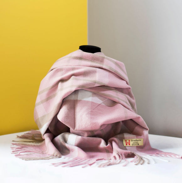Strathurie Check Scarf - Pale Pink