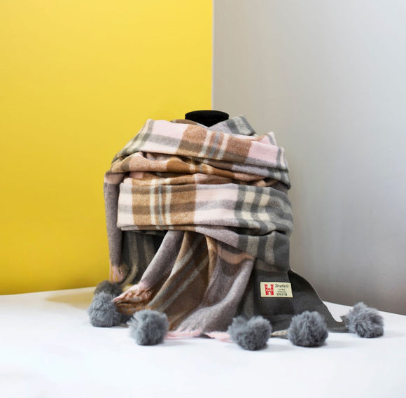 Strathurie Pom Pom Check Wrap - Grey