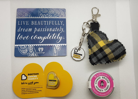 Letterbox Gift - Beatson Tartan Heart Keyring, pin badge, Lip balm & Choice of 6 different Fridge Magnet