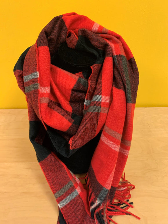 Strathurie large red and black check scarf