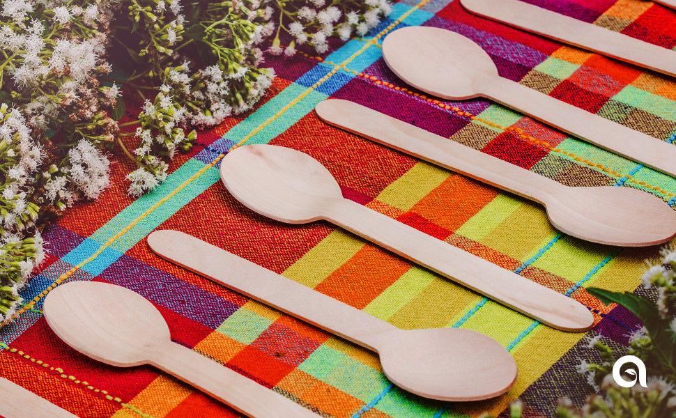 Aevia's disposable wooden spoons