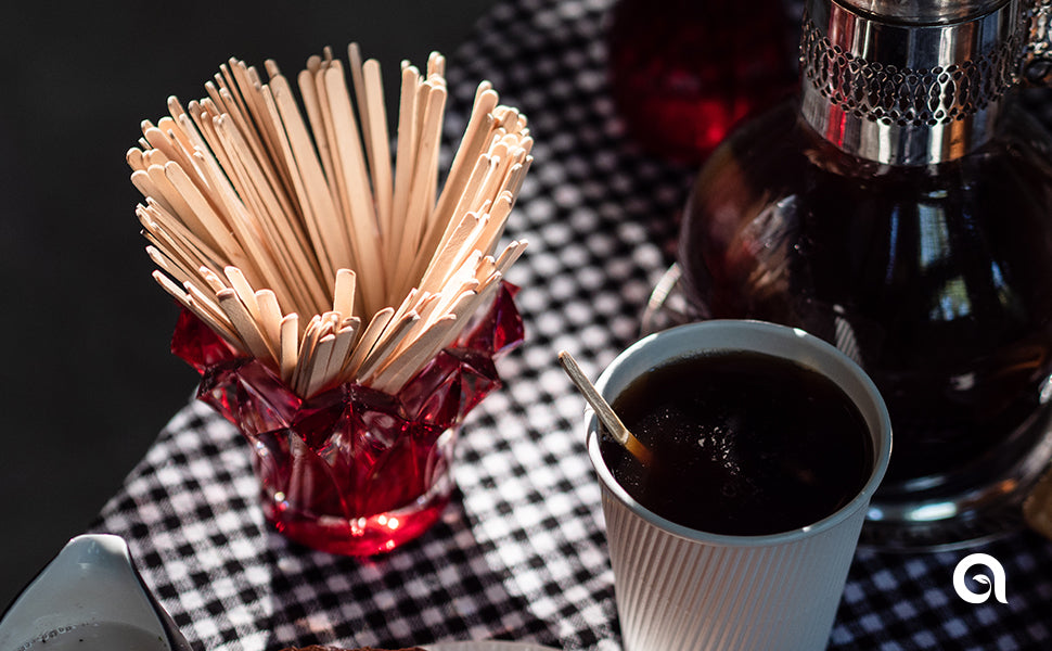 Disposable wooden coffee stir sticks by Aevia