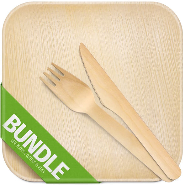 Eco-friendly Palm Leaf Plates & Cutlery Bundle