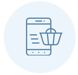 icon of mobile phone with checkout bag