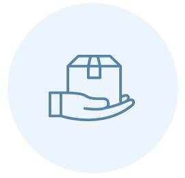 icon of hand holding shipping box