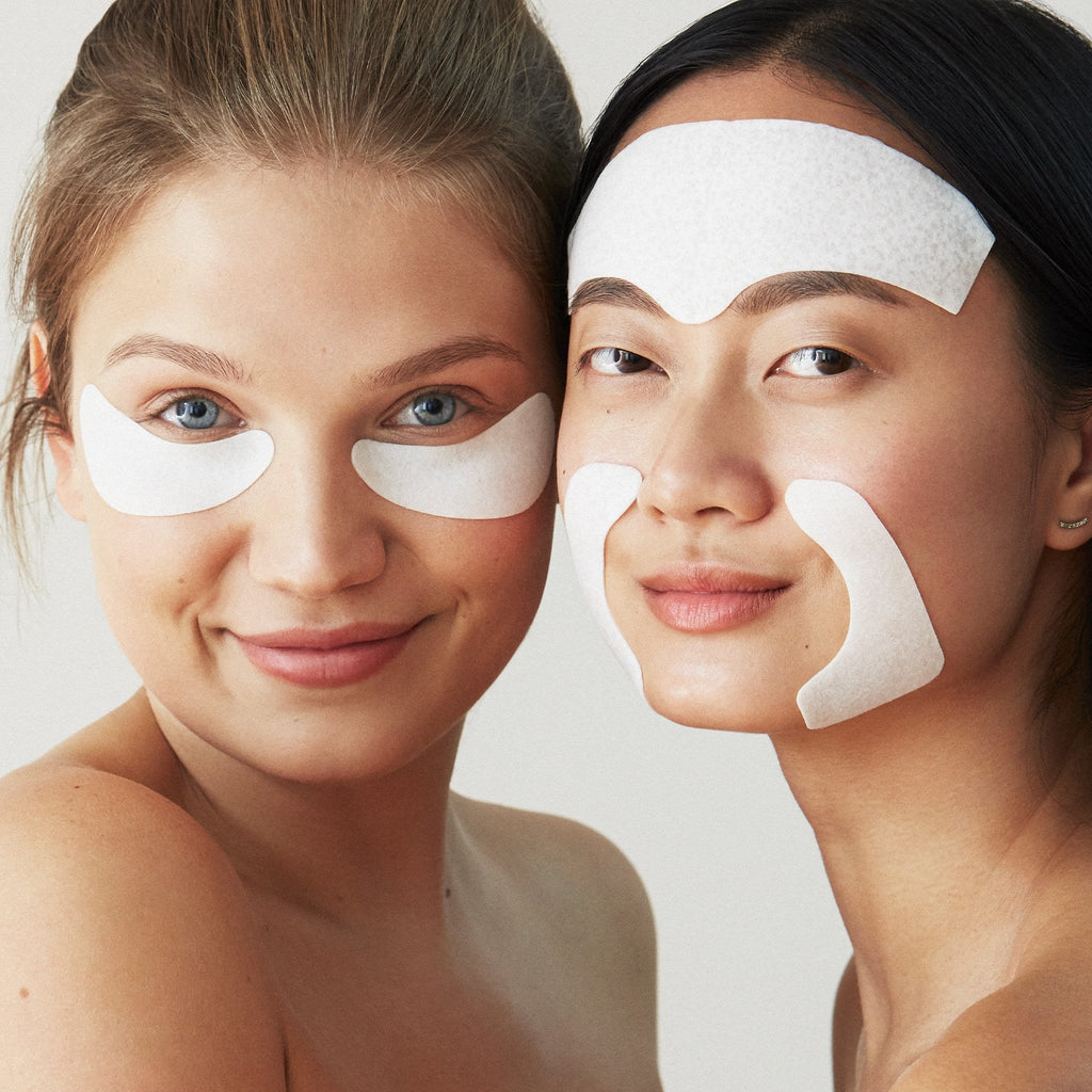Photo of models wearing eye gels and face gels