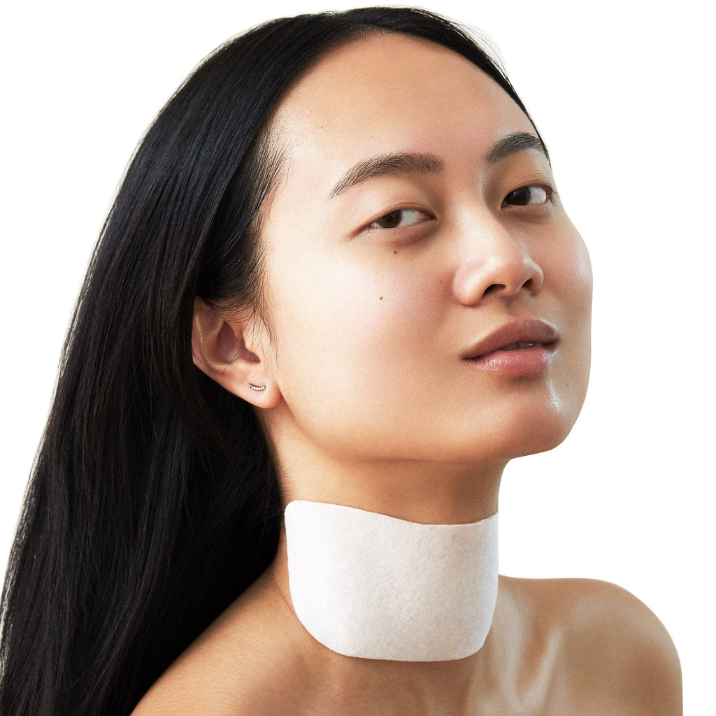 Model wearing Hydro Cool Firming Neck Gels