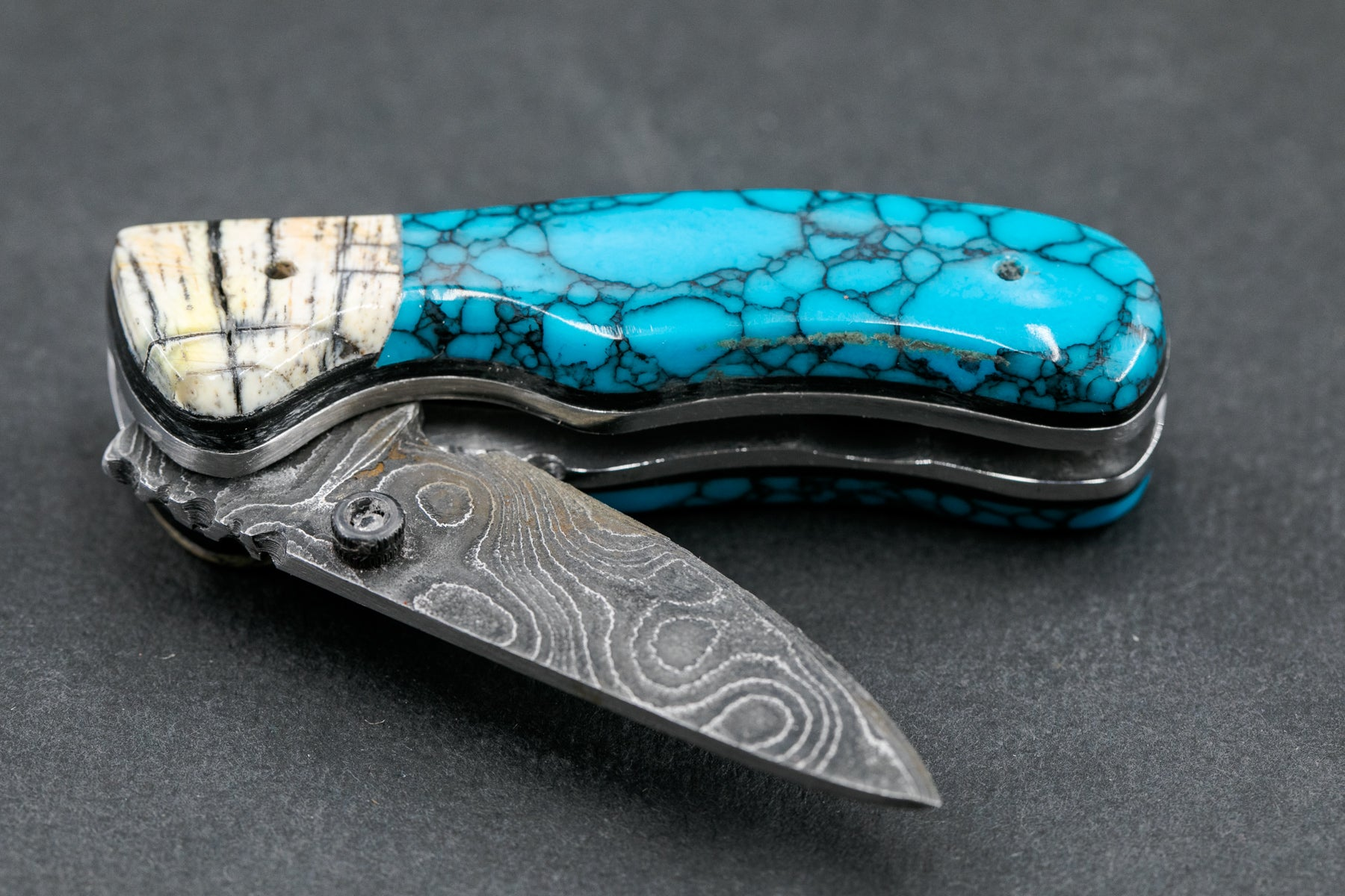 Turquoise and Woolly Mammoth Ivory Small Linerlock