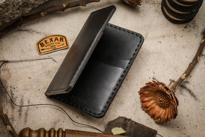 Vertical Card Wallet- Black
