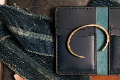 Navy Vertical Card Wallet