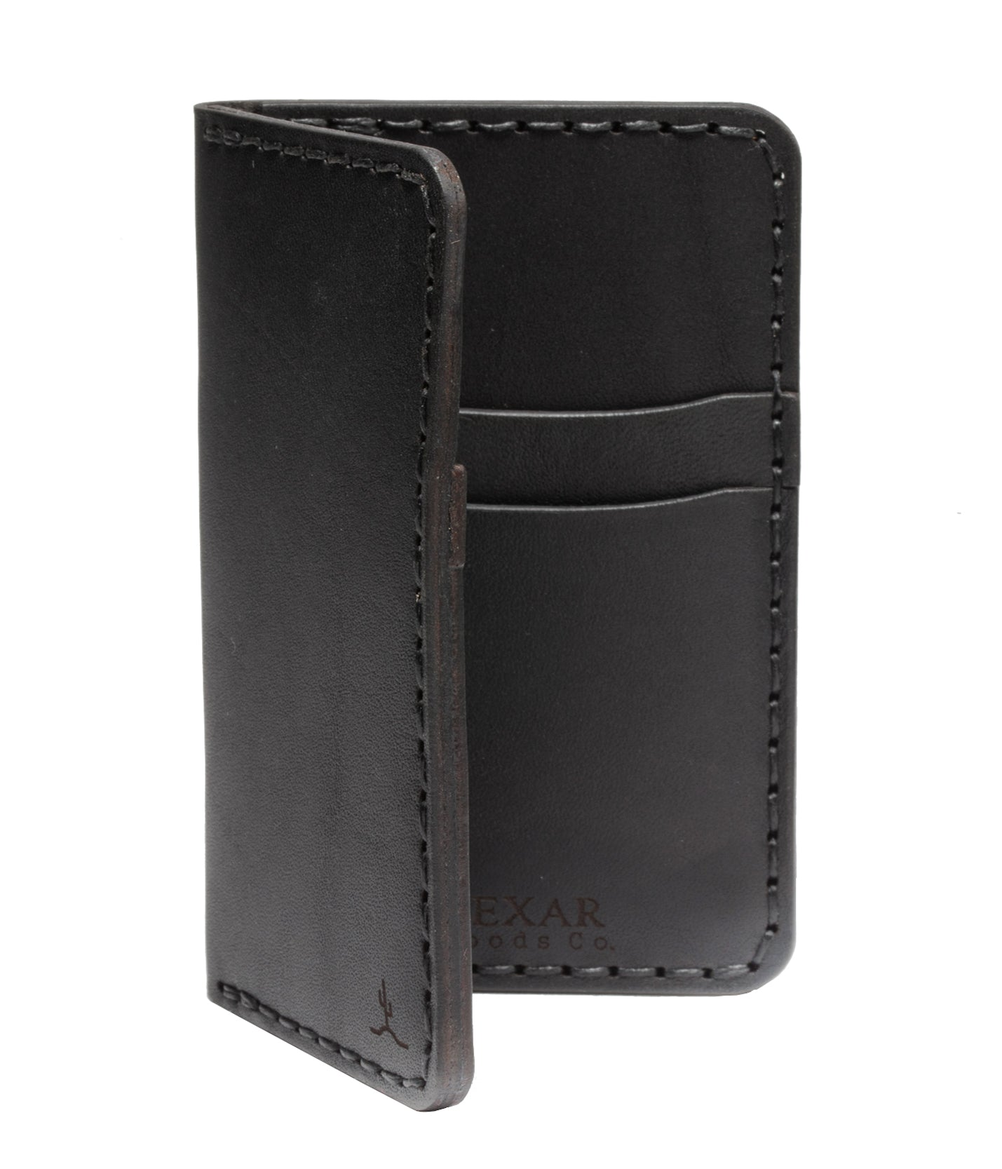 Vertical Card Wallet // Black - Bexar Goods Co.