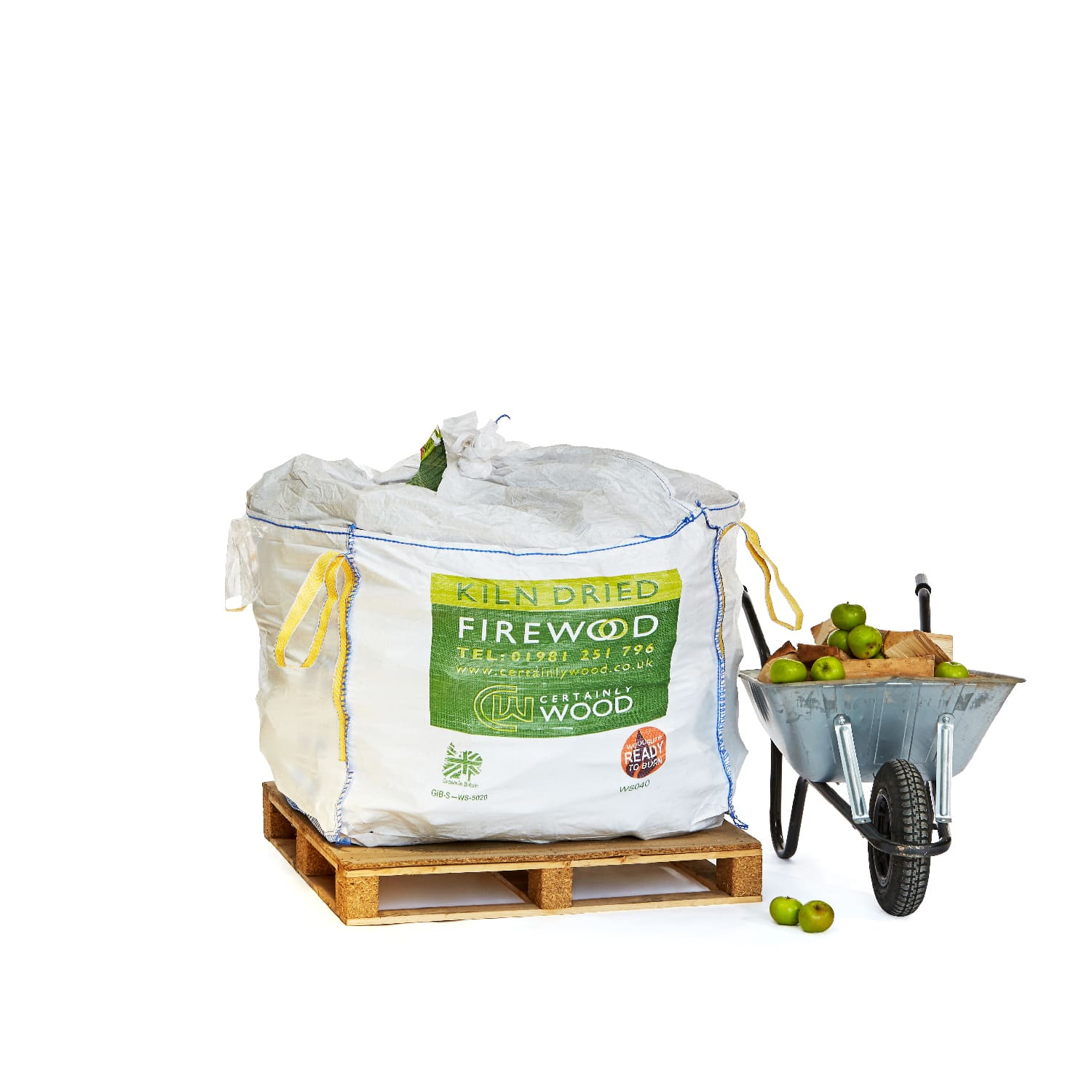 A 0.8m3 Bulk bag of kiln dried apple wood