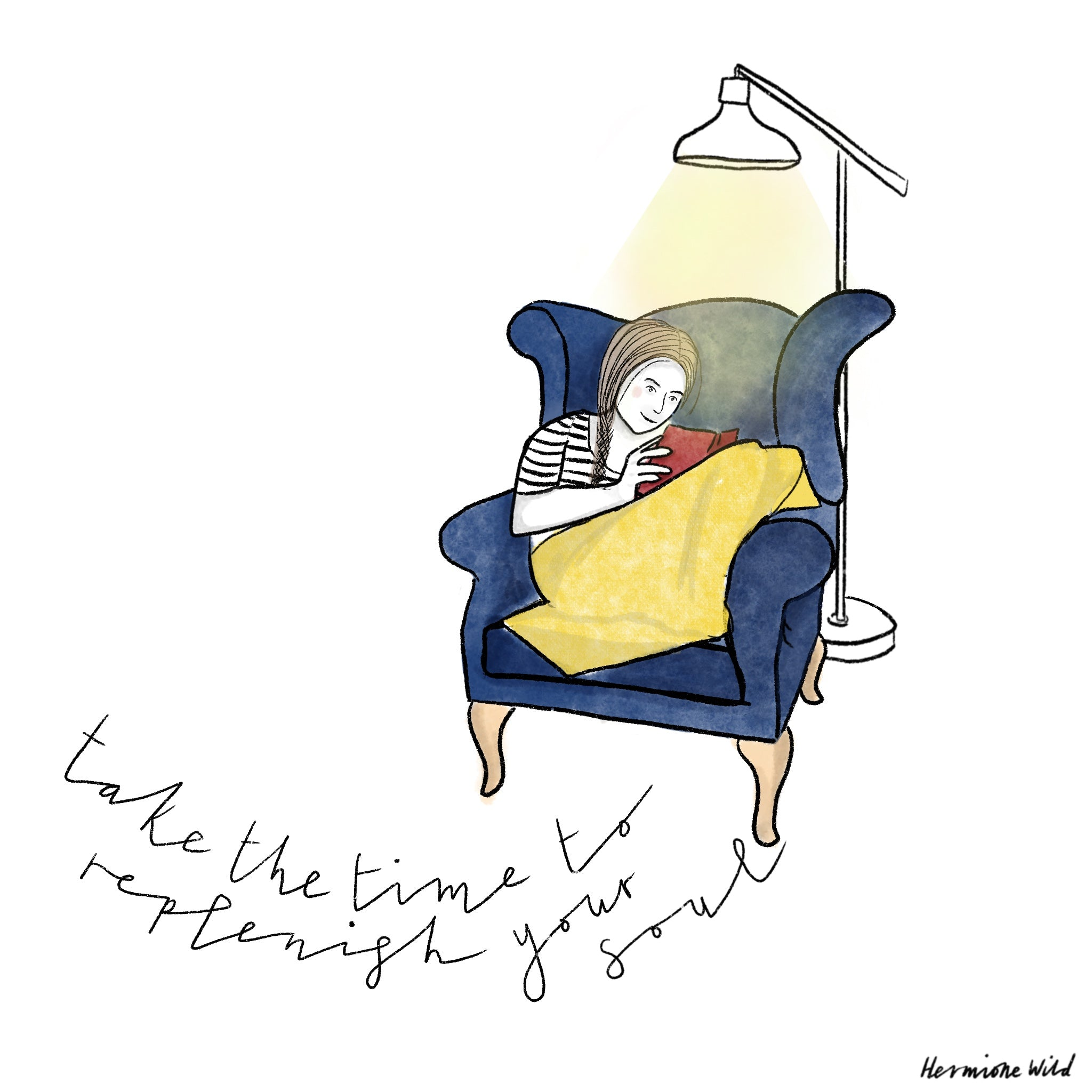 Woman curled up in armchair covered in a yellow blanket reading a book by lamplight. Text reads 'take the time to replenish your soul'