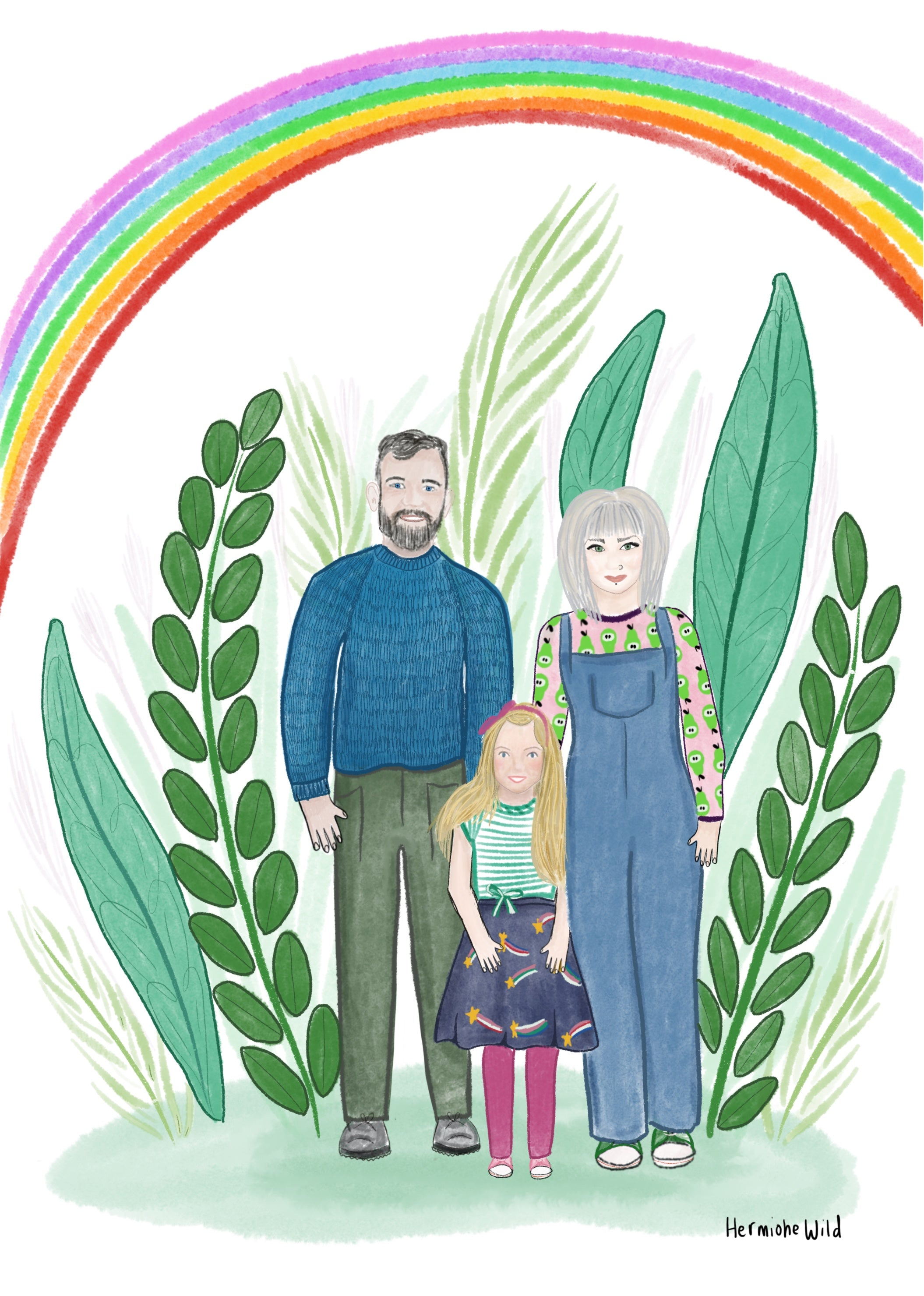 Family portrait with mother, father and daughter in front of plants and rainbow