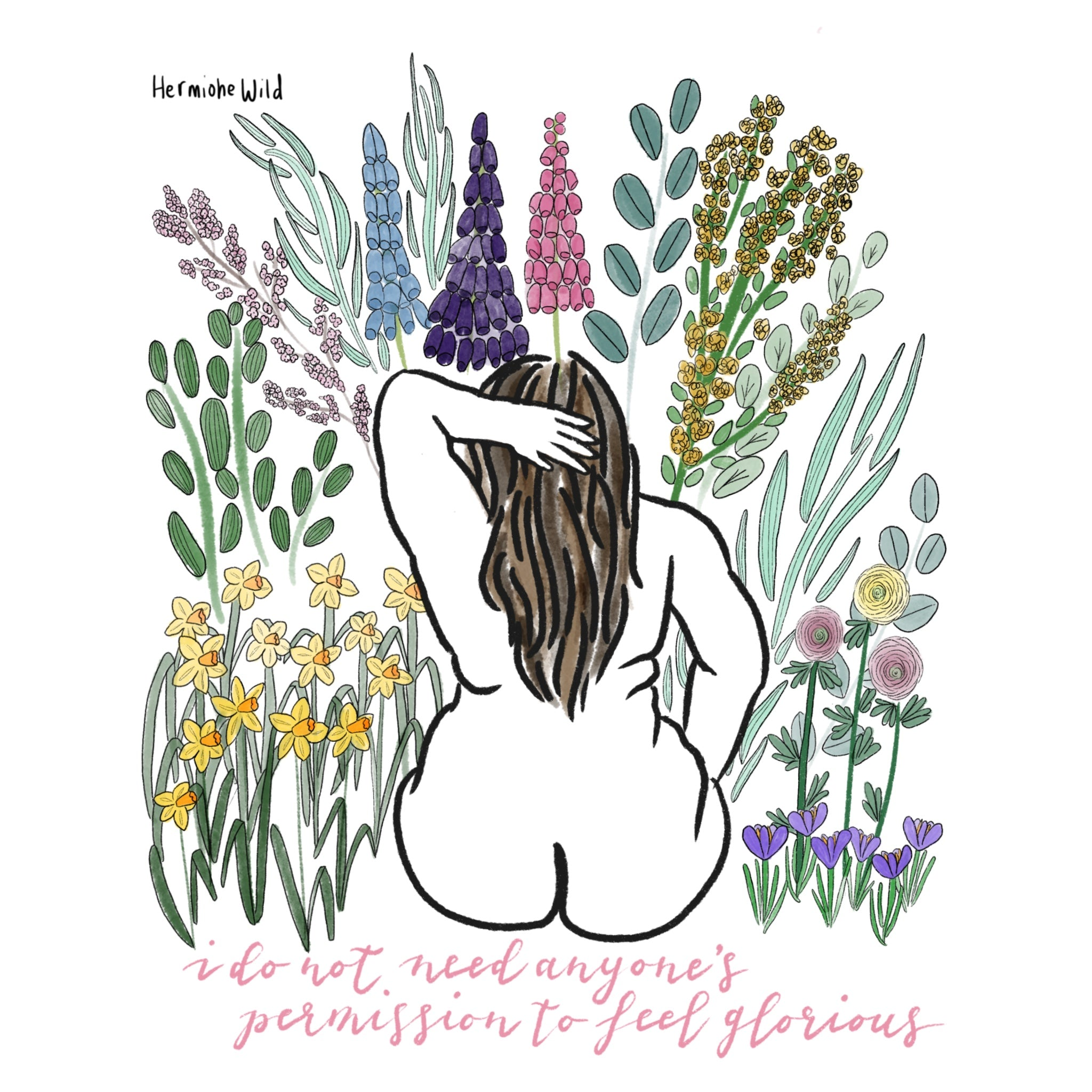 Nude woman surrounded by flowers, quote reads 'I do not need anyone's permission to feel glorious'