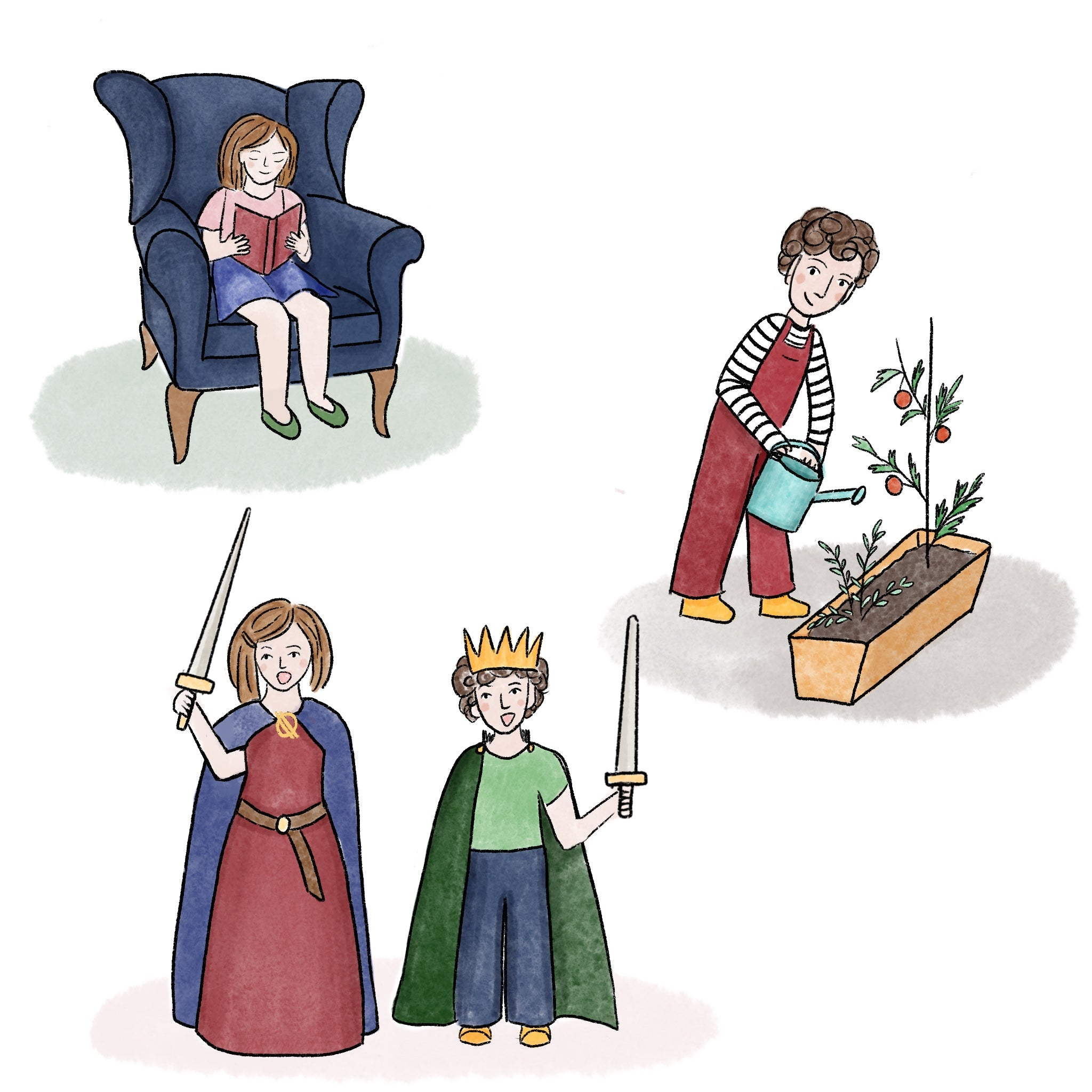 Boy and girl character watering plants, reading a book, dressed up holding toy swords