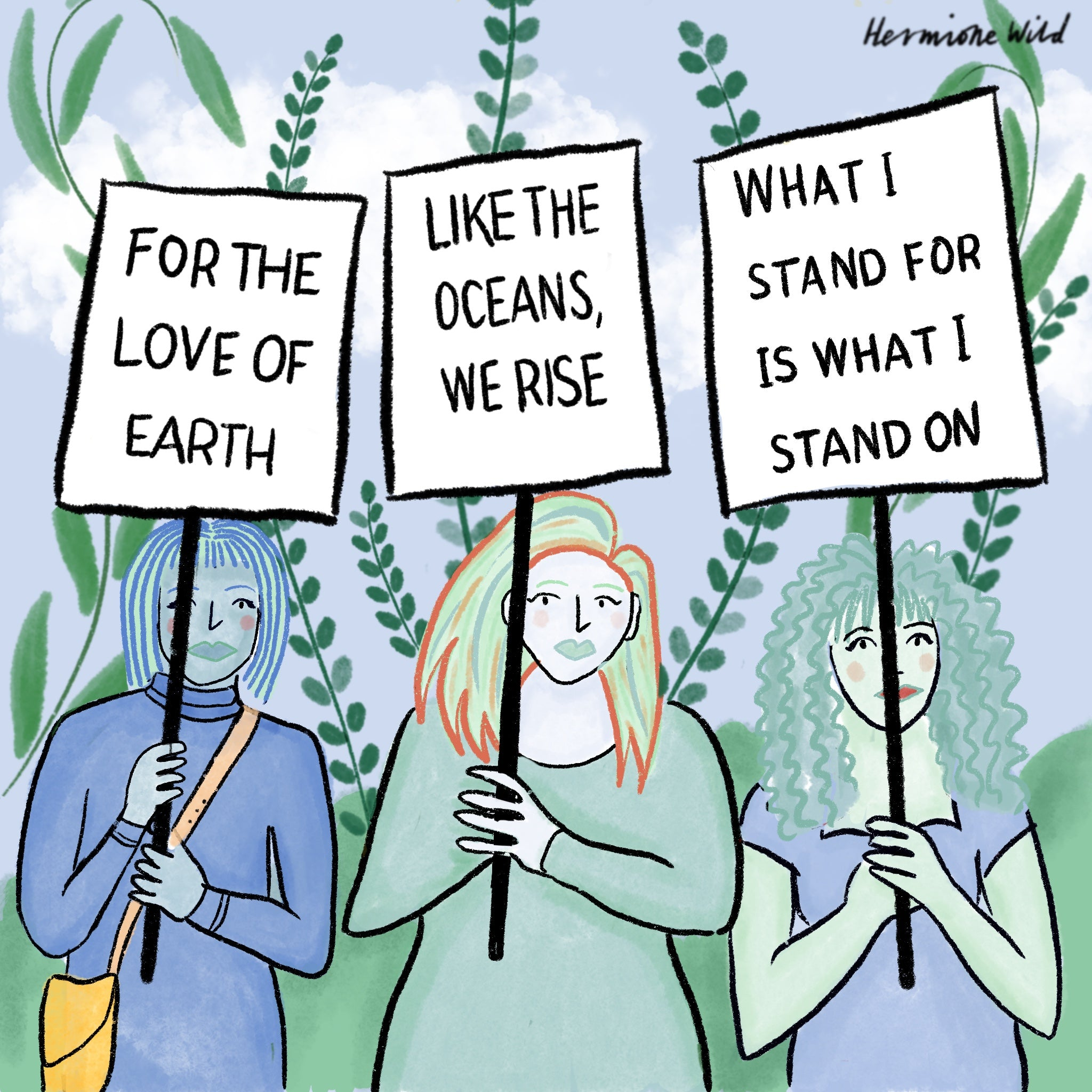 Limited colour palette blue and green with black outlines. Three women protesting climate change.
