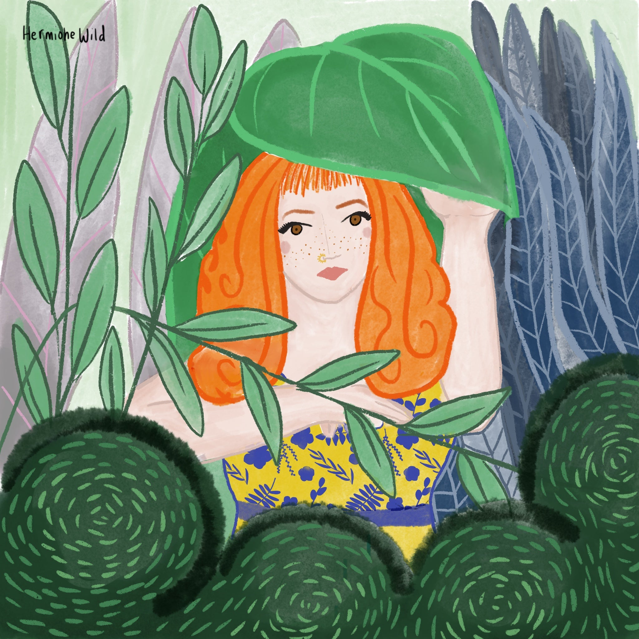 Red haired woman peering out from behind plants