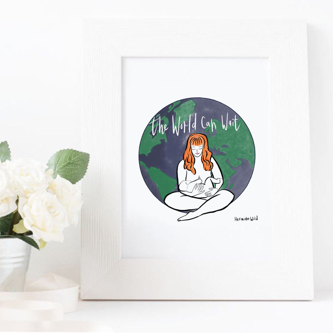 Breastfeeding woman A4 unframed giclee art print | newborn mother and baby art print| Mother and child