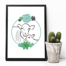 Load image into Gallery viewer, Cow and calf A4 digital art print