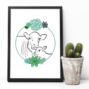 Cow and calf A4 digital art print