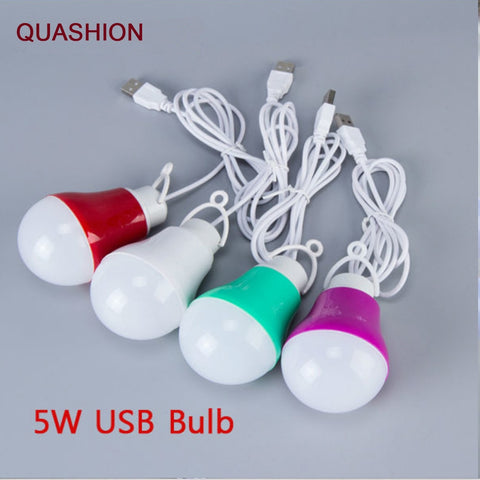 Colorful PVC 5V 5W USB Bulb Light portable Lamp LED 5730 for hiking camping Tent  travel Work With Power Bank Notebook