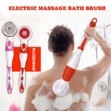 NEW 4-In-1 Electric Bath Brush Long Handle Waterproof