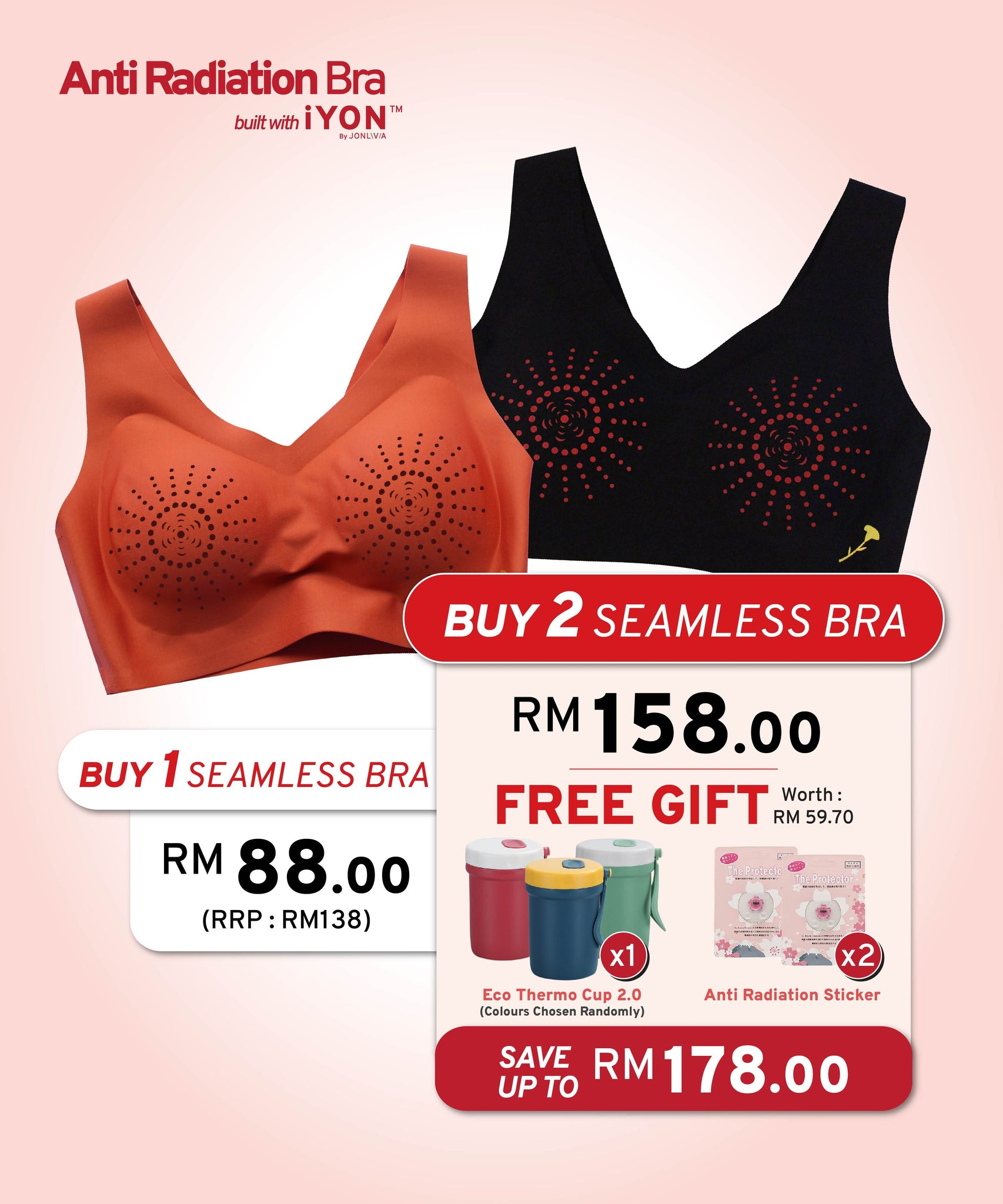 [PRE-ORDER] TWIN PACK iYON Anti Radiation Bra + FREE GIFTS