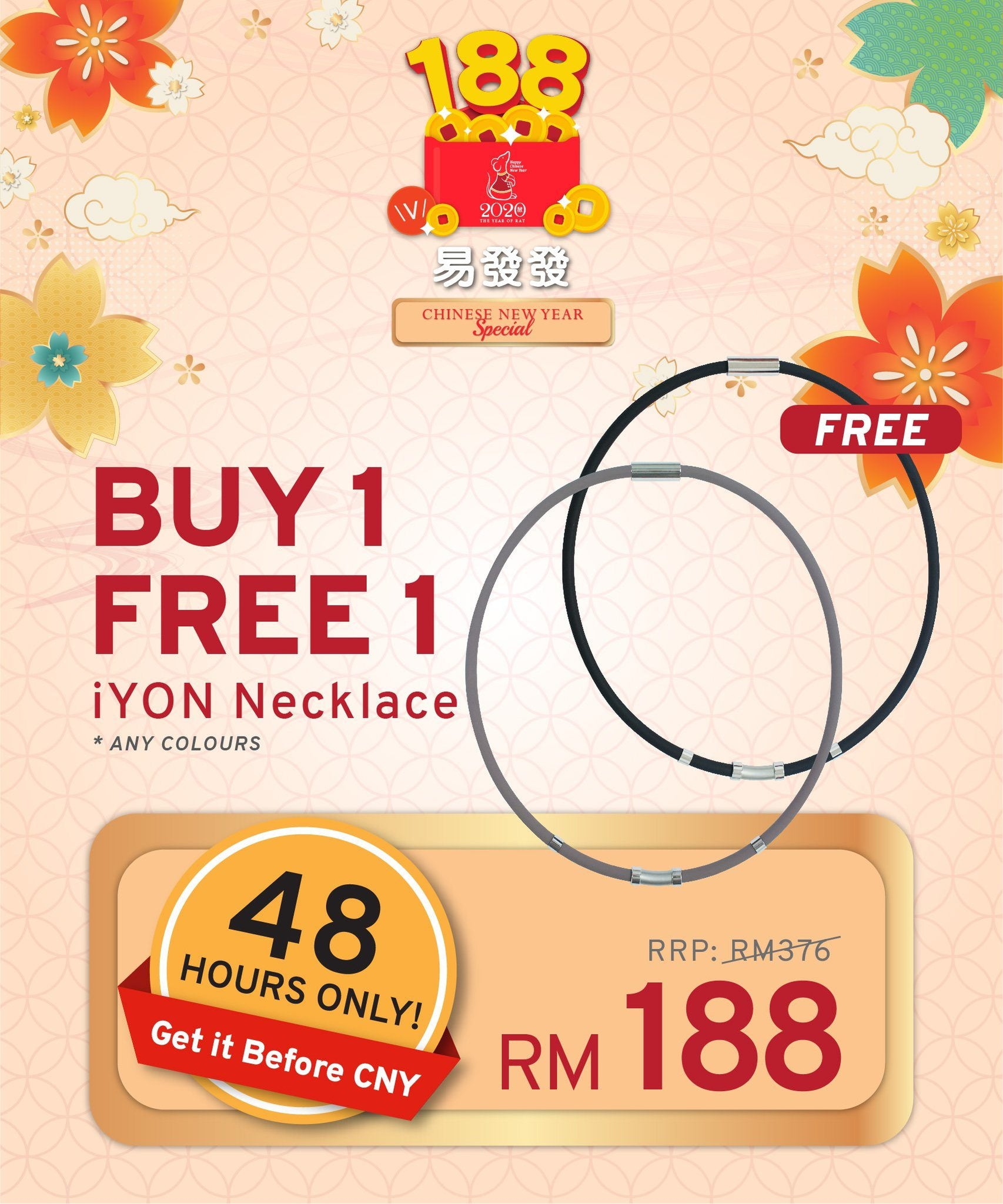 48 HOURS ONLY, BUY 1 FREE 1 iYON NECKLACE - Get it Before CNY