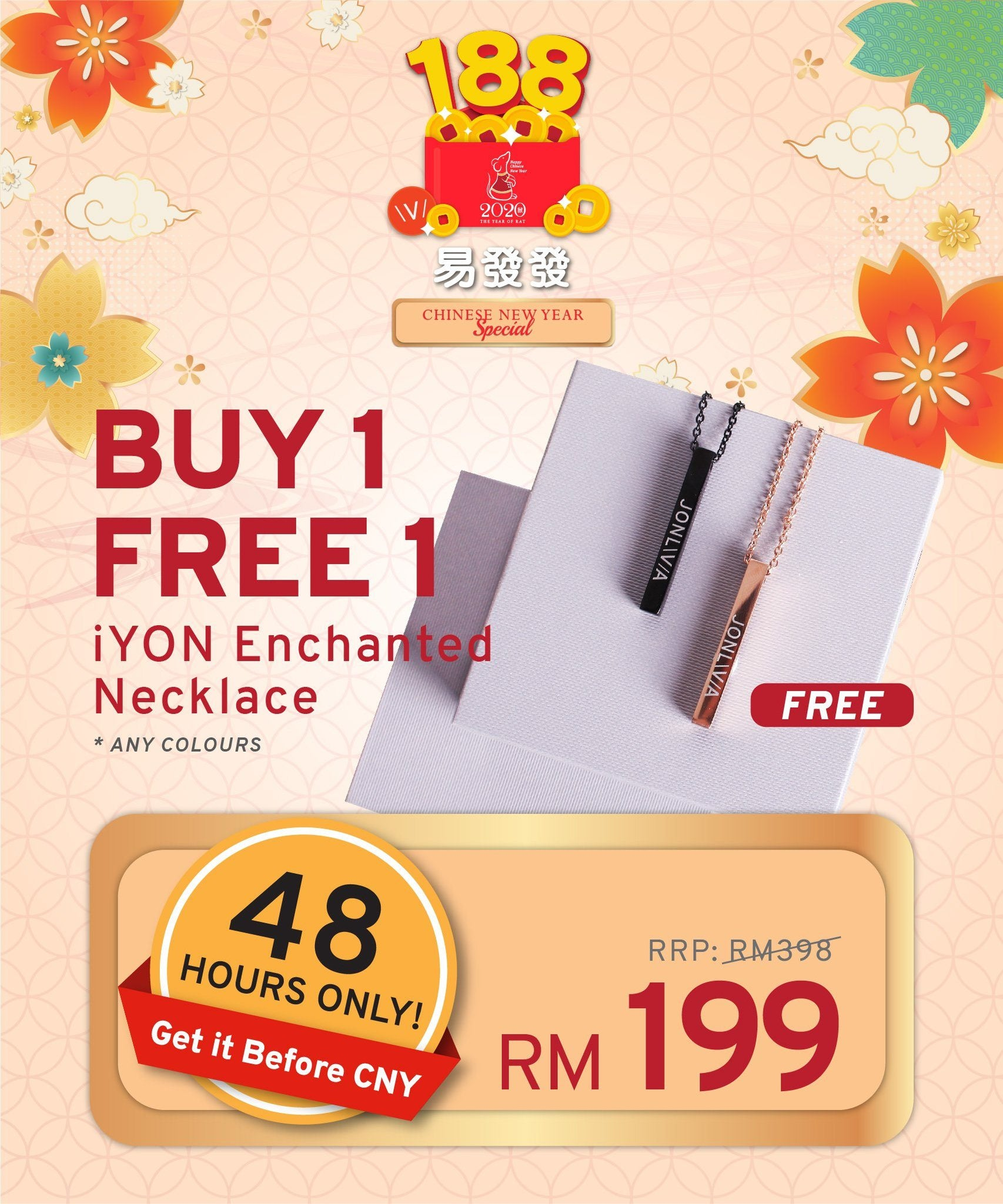 48 HOURS ONLY, BUY 1 FREE 1 iYON NECKLACE Enchanted - Get it Before CNY
