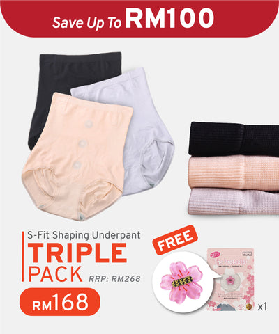 3 Pcs Pack S-Fit Shaping Underpants with iYon Technology (Ready Stock)