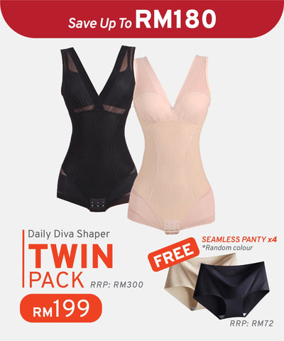 Twin Pack Daily Diva Shaper Free 4 Seamless Panty
