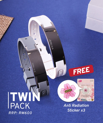 Twin Pack iYON E-Bracelet (NEW Energy Upgrade) - White + Grey